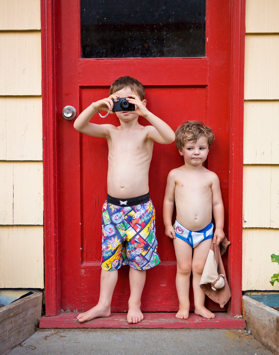 Kids and a Red Door