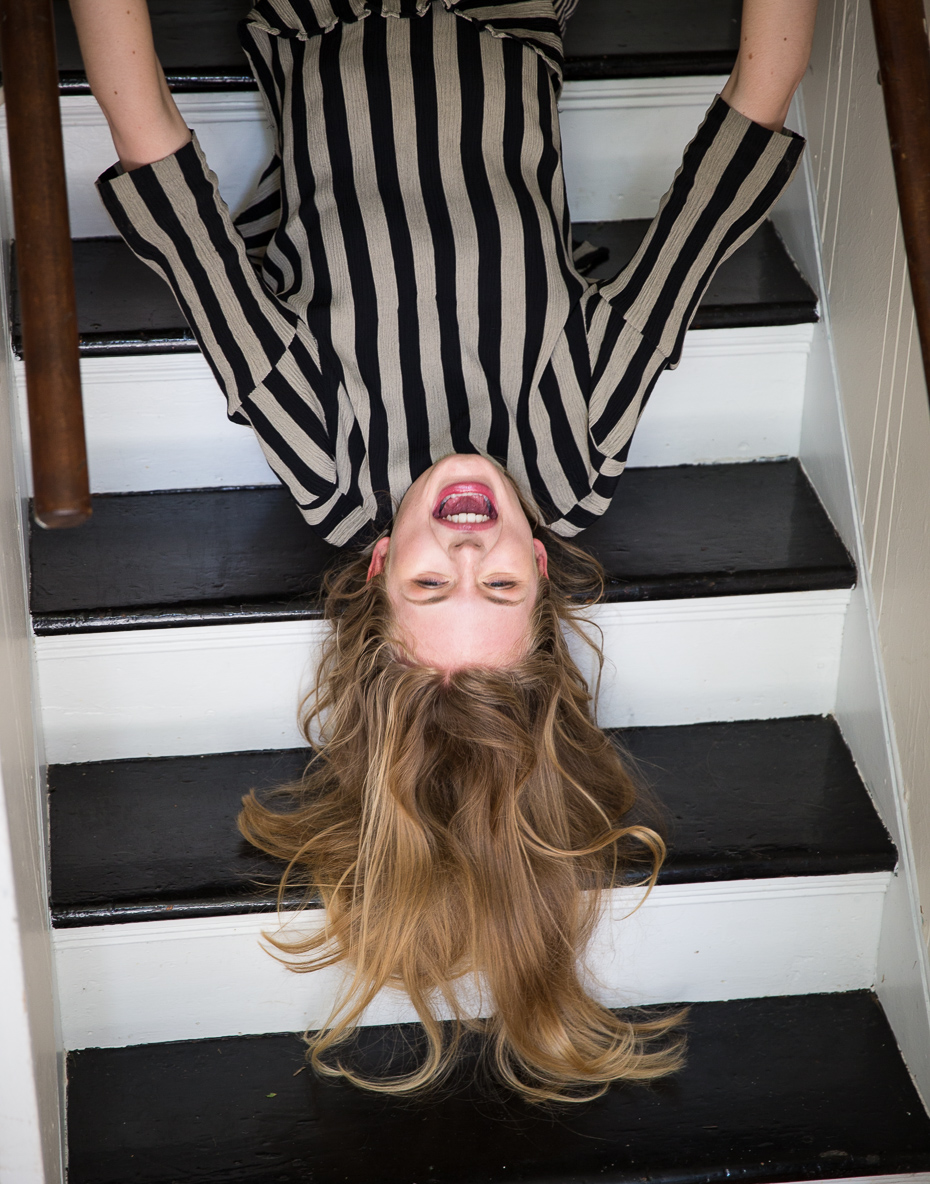 Upside Down Kat on the Stairs